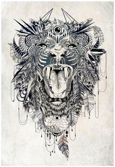 tattoo ideas, thigh tattoos, art prints, back tattoos, lion tattoo, tattoo patterns, lions, tattoo ink, felin zeger