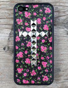 Rose Buddies Silver Studded Cross Case