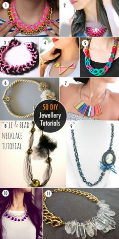 50 DIY Jewelry Tutorials - Necklaces, bracelets, rings, etc.~ Lots of these would make great gifts!