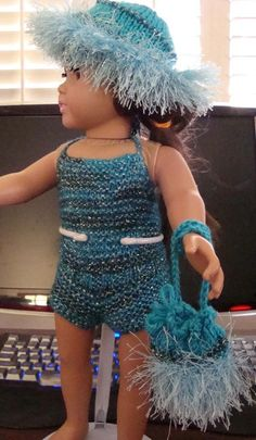 Ladyfingers - AG doll - One Piece Bathing Suit, Beach Hat, Beach Bag