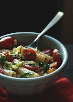 Summer greek-style pasta with tomatoes, feta, and dill