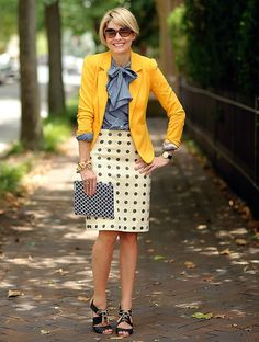 Yellow lover light blue with cream skirt or pants..cheery!