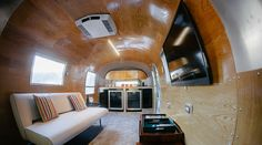 The Airstream Lounge is a mobile VIP lounge and bar inside a vintage Airstream.