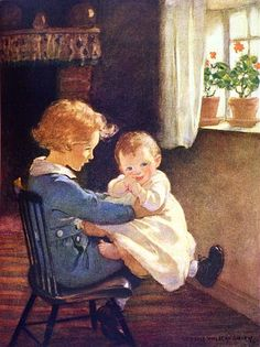 So Diamond sat down again and took the baby in his lap - At the Back of the North Wind by George MacDonald; published by David McKay, 1919
