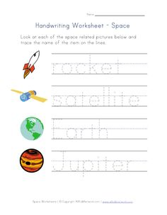 outer space free printables | View and Print Your Space Themed Handwriting Worksheet Worksheet