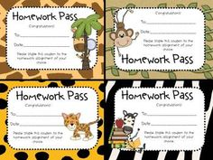 FREE! Your students will be wild about these passes or coupons which enable them to skip a homework assignment! Eight different colorful passes are included. Enjoy!