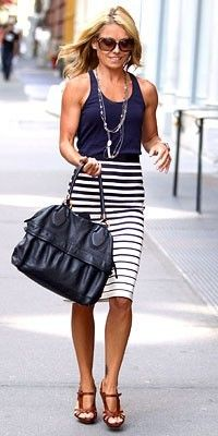 Kelly Ripa. Striped skirt, tank, layered necklaces, contrasting heels