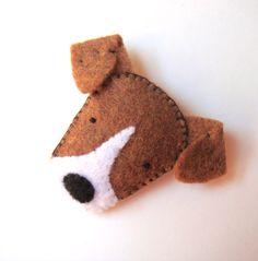 Felt Brooch Cute Dog Pin Jack Russell Terrier  For Eddie Mi Luff