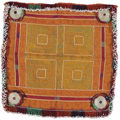 A SMALL TENT HANGING,AFGHANISTAN embroidered with geometric designs in orange on a green ground; and another   Quantity: 2 cotton & silk 70cm by 68cm | Lot | Sotheby's