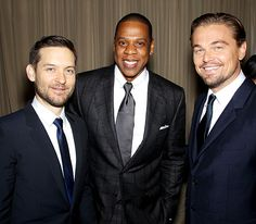 Tobey Maguire, Jay-Z and Leonardo DiCpario beamed in their suits during the world premiere of The Great Gatsby.