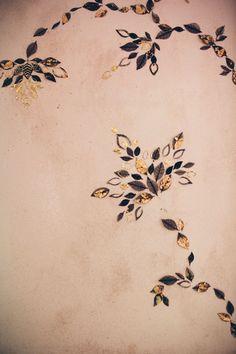 close up gold wall