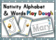 Playdough Mats - Christmas Nativity Alphabet and Words