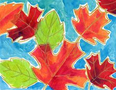 Art Projects for Kids: Tissue Paper Fall Leaves outlined with gold marker and watercolor background!