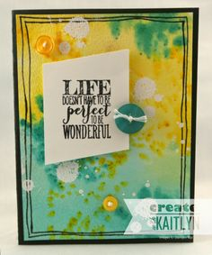 Create with Kaitlyn: Doesn't Have to be Perfect - CCC #029 | Perfect Pennants and Gorgeous Gunge Stamp Sets, Watercolor Background Technique, Stampin' Up! stamp sets, creat challeng, challeng blog, three challeng