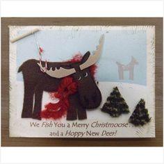 Christmas Card, Whimsical Moose, Raised Texture. $2.50, via Etsy.