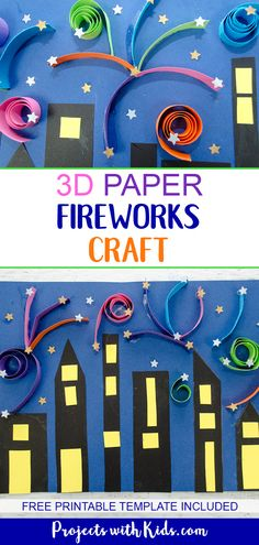 Make this colorful festive fireworks craft that kids will love! This is a super easy and fun paper craft that can be used for New Years, the 4th of July or Canada Day. Free printable template included. #papercrafts #fireworks #newyearscrafts #projectswithkids