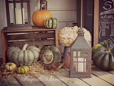 Fall Back Porch Decor | The Porch in Autumn ::: Fall Front Porch - Cottage in the Oaks