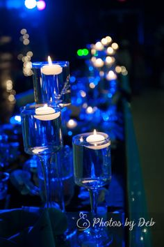 Blue candle centerpiece - My Photos by Deb Life