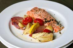 salmon recip, roast salmon, bake salmon, quick healthi, chilis, chili roast, cilantro cream, seafood recip