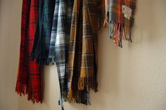 Brooke's plaid wool scarves, thrifted. As seen on her blog: Secondhand Goods.