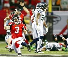 Twenty-three seconds after the Seahawks thought they had won the game, they could only watch as Falcons kicker Matt Bryant celebrated his 49-yard field goal that gave Atlanta the 30-28 victory. (Photo by John Lok / The Seattle Times)