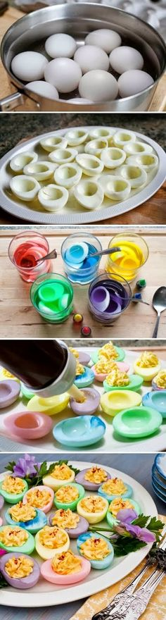 How To Make Colorful Easter Egg hot water and I will vinegar and food caloring