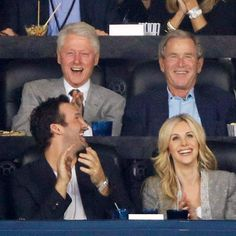 Star Tracks: Tuesday, April 8, 2014 | GAME FACES | They're ballers! Former presidents Bill Clinton and George W. Bush show their support for college hoops on Monday, catching the NCAA men's basketball championship game alongside Dallas Cowboys quarterback Tony Romo and wife Candice in Arlington, Texas.
