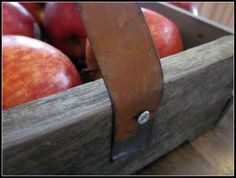 apple crate made from wood shims