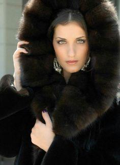 Hooded Sable & Mink Fur Coat