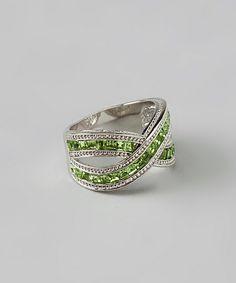 Silver & Peridot Crisscross Ring