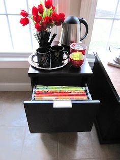 Genius method of storing all your fabric- use a file cabinet and folder system. Check out some great fabric storage ideas via Sew Many Ways