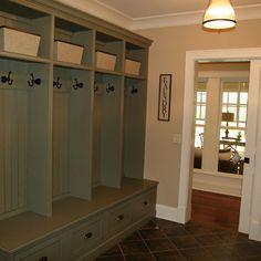 Mudroom on pinterest lockers mud rooms and entrance halls for Basement mudroom ideas