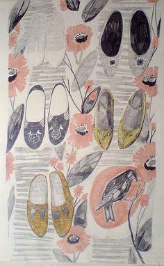 Illustration flowers and shoes. http://obus.com.au/