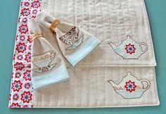 kitchens, tea time, quilt placemat, gift, tea towels