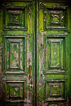 Peeling green door.  Italy.