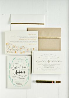 DIY gold leafing for your wedding invitations and envelopes. from oscar and emma for julep #minted