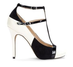 white + black heel
