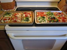 food ideas for Minecraft Party theme. I made pizza dough & cut them up in squares & each person added their own toppings before I baked it.