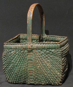 19th Century Basket in Old Green Paint