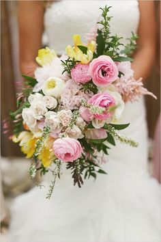 Pink and yellow whimsy bridal bouquet.