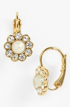 In love! Pearl and crystal floral drop earring by Kate Spade.