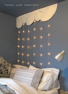 DIY:: Sweet  Headboard Tutorial ! It is so simple-  some wooden painted clouds and hanging stars! Can be used then reused for sibling Girl or Boy Decor !
