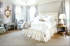 dreamy bedroom, idea, headboards, master bedrooms, white bedrooms, hous, white bedding, bed skirts, curtain