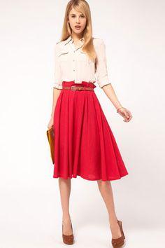 linen midi-skirt.