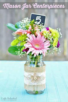 burlap and mason jars, mason jar bulap centerpiece, mason jat centerpieces, mason jars with flowers, mason jars centerpieces