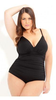 One Piece Plus Size Plunge Black Swimsuit - luv