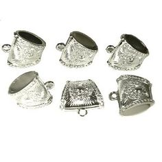 Wholesale 6pcs Scarf Jewelry 40X25mm Silver Plated Scarf Bails Charm Pendant Accessories CCB S03045