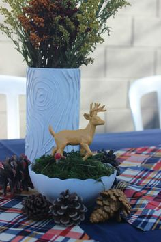 With nothing more than hot glue, you can create a simple centerpiece in minutes.