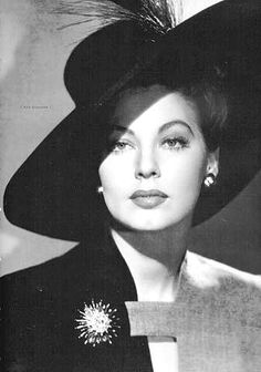 vintag, hats, peopl, icon, ava gardner, style, hollywood glamour, star, beauti