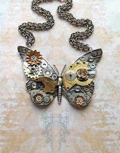 diy ideas, steam punk accessories, steampunk fashion, steampunk butterfli, boats, art, beauti, butterfli necklac, key